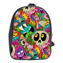 Crazy Illustrations & Funky Monster Pattern School Bags (xl)