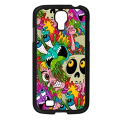 Crazy Illustrations & Funky Monster Pattern Samsung Galaxy S4 I9500/ I9505 Case (black)