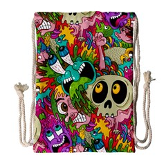 Crazy Illustrations & Funky Monster Pattern Drawstring Bag (large) by BangZart