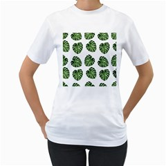 Leaf Pattern Seamless Background Women s T Shirt (white) (two Sided)