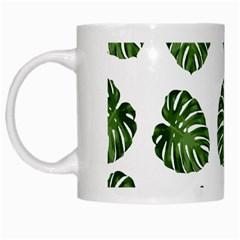 Leaf Pattern Seamless Background White Mugs by BangZart