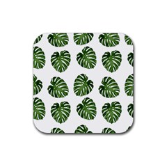 Leaf Pattern Seamless Background Rubber Square Coaster (4 Pack)  by BangZart