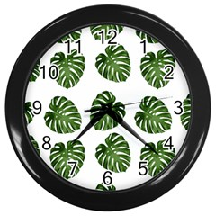 Leaf Pattern Seamless Background Wall Clocks (black) by BangZart