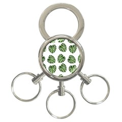 Leaf Pattern Seamless Background 3 Ring Key Chains