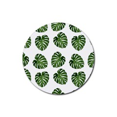 Leaf Pattern Seamless Background Rubber Coaster (round)