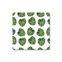 Leaf Pattern Seamless Background Square Magnet