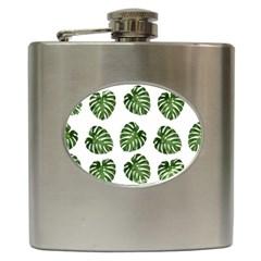 Leaf Pattern Seamless Background Hip Flask (6 Oz)