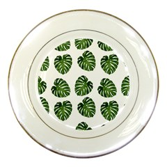 Leaf Pattern Seamless Background Porcelain Plates by BangZart
