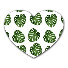 Leaf Pattern Seamless Background Heart Mousepads by BangZart