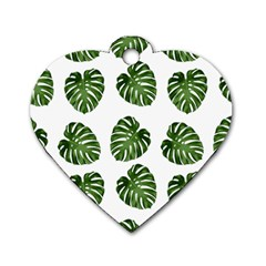 Leaf Pattern Seamless Background Dog Tag Heart (two Sides) by BangZart