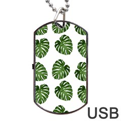 Leaf Pattern Seamless Background Dog Tag Usb Flash (one Side) by BangZart