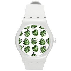 Leaf Pattern Seamless Background Round Plastic Sport Watch (m)