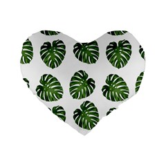Leaf Pattern Seamless Background Standard 16  Premium Heart Shape Cushions by BangZart