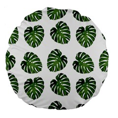 Leaf Pattern Seamless Background Large 18  Premium Flano Round Cushions by BangZart