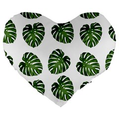 Leaf Pattern Seamless Background Large 19  Premium Flano Heart Shape Cushions by BangZart