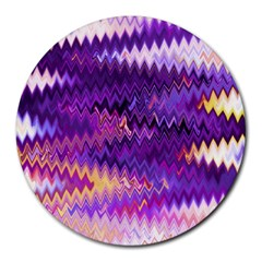 Purple And Yellow Zig Zag Round Mousepads