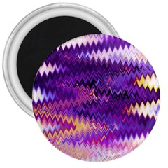 Purple And Yellow Zig Zag 3  Magnets by BangZart