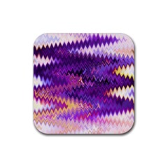 Purple And Yellow Zig Zag Rubber Square Coaster (4 Pack)