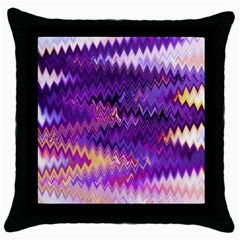 Purple And Yellow Zig Zag Throw Pillow Case (black) by BangZart
