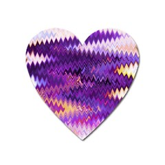 Purple And Yellow Zig Zag Heart Magnet by BangZart