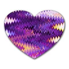 Purple And Yellow Zig Zag Heart Mousepads by BangZart