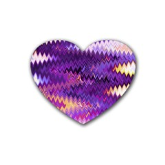 Purple And Yellow Zig Zag Rubber Coaster (heart)  by BangZart