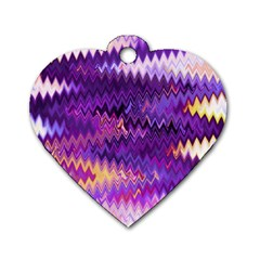 Purple And Yellow Zig Zag Dog Tag Heart (two Sides)