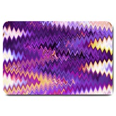 Purple And Yellow Zig Zag Large Doormat  by BangZart