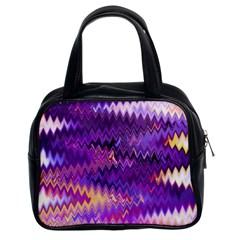 Purple And Yellow Zig Zag Classic Handbags (2 Sides)