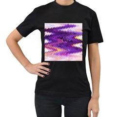Purple And Yellow Zig Zag Women s T Shirt (black)