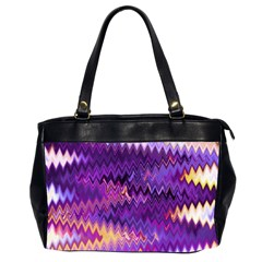 Purple And Yellow Zig Zag Office Handbags (2 Sides)  by BangZart