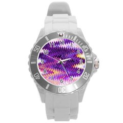 Purple And Yellow Zig Zag Round Plastic Sport Watch (l) by BangZart