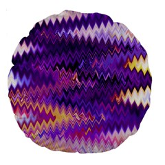 Purple And Yellow Zig Zag Large 18  Premium Round Cushions by BangZart