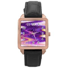 Purple And Yellow Zig Zag Rose Gold Leather Watch