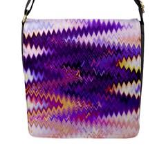 Purple And Yellow Zig Zag Flap Messenger Bag (l)  by BangZart
