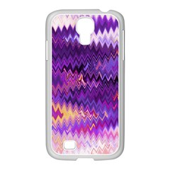 Purple And Yellow Zig Zag Samsung Galaxy S4 I9500/ I9505 Case (white)