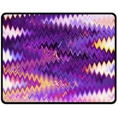 Purple And Yellow Zig Zag Double Sided Fleece Blanket (medium)  by BangZart