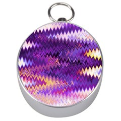 Purple And Yellow Zig Zag Silver Compasses by BangZart