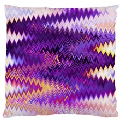 Purple And Yellow Zig Zag Large Flano Cushion Case (two Sides) by BangZart
