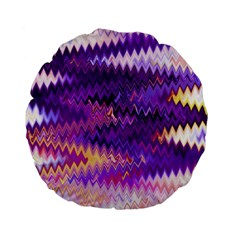 Purple And Yellow Zig Zag Standard 15  Premium Flano Round Cushions