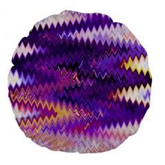 Purple And Yellow Zig Zag Large 18  Premium Flano Round Cushions by BangZart