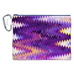 Purple And Yellow Zig Zag Canvas Cosmetic Bag (xxl) by BangZart