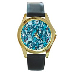 Monster Pattern Round Gold Metal Watch