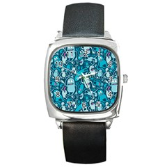 Monster Pattern Square Metal Watch
