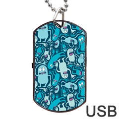 Monster Pattern Dog Tag Usb Flash (one Side) by BangZart