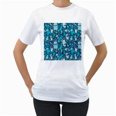 Monster Pattern Women s T Shirt (white)