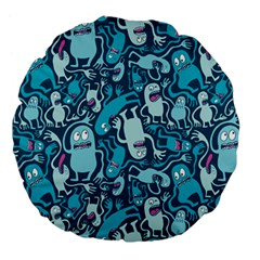Monster Pattern Large 18  Premium Flano Round Cushions by BangZart