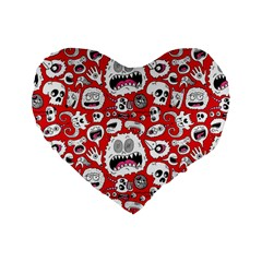 Another Monster Pattern Standard 16  Premium Heart Shape Cushions by BangZart