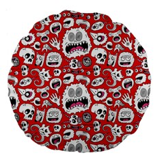 Another Monster Pattern Large 18  Premium Flano Round Cushions by BangZart