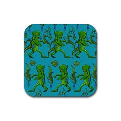 Swamp Monster Pattern Rubber Coaster (square)